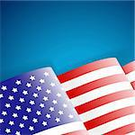 American Flag on blue background, vector illustration Stock Photo - Royalty-Free, Artist: TAlex                         , Code: 400-06360785