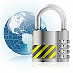 Business concept - Padlock protects Earth, vector illustration Stock Photo - Royalty-Free, Artist: TAlex                         , Code: 400-06360818