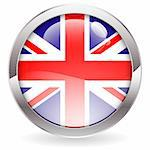 Three Dimensional circle button with British Flag, vector illustration Stock Photo - Royalty-Free, Artist: TAlex                         , Code: 400-06360847