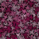 Seamless White and Pink Butterfly Silhouette Pattern On Dark Red Background. Vector Stock Photo - Royalty-Free, Artist: nikifiva                      , Code: 400-06361514