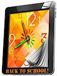 Colorful watch with hands, concept back to school on tablet pc!