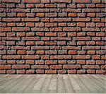 red brick grunge wall and wooden floor    Stock Photo - Royalty-Free, Artist: vicnt                         , Code: 400-06363074