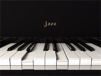Front view of a black jazz piano. 3d render Stock Photo - Royalty-Freenull, Code: 400-06363884