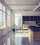 modern kitchen in loft interior (3d illustration) Stock Photo - Royalty-Free, Artist: vicnt                         , Code: 400-06364167