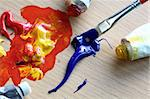 Close up of colorful paint and brush. Focus in the brush Stock Photo - Royalty-Free, Artist: allx                          , Code: 400-06365177