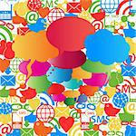Social network symbols and speech bubbles Stock Photo - Royalty-Free, Artist: soleilc                       , Code: 400-06365209