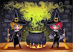 Funny witches with pot. Cartoon and vector illustration.  Proportions in A3 - A4 - 50x70 Stock Photo - Royalty-Free, Artist: ddraw                         , Code: 400-06366728