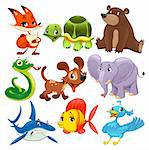 Set of animals. Cartoon and vector isolated characters. Stock Photo - Royalty-Free, Artist: ddraw                         , Code: 400-06367059