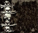 Grunge background with human skulls and bones Stock Photo - Royalty-Free, Artist: frenta                        , Code: 400-06367717