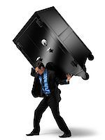 Businessman Carrying Large Safe on his Back Stock Photo - Premium Rights-Managednull, Code: 700-06368050