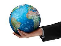 Close-Up of Businessman Holding Globe in Hand Stock Photo - Premium Rights-Managednull, Code: 700-06368059