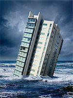 Highrise Floating in Ocean Stock Photo - Premium Rights-Managednull, Code: 700-06368075