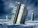 Highrise Buildings Floating in Ocean Stock Photo - Premium Rights-Managed, Artist: Marc Simon, Code: 700-06368076
