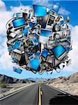 Sphere of Digital Devices Floating Above Desert Highway Stock Photo - Premium Rights-Managed, Artist: Marc Simon, Code: 700-06368080