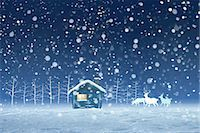 Illustration of hut and snow Stock Photo - Premium Royalty-Freenull, Code: 622-06369952