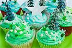 Various blue Christmas cupcakes Stock Photo - Premium Royalty-Freenull, Code: 659-06372501