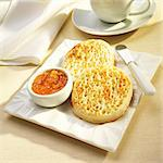 Toasted Crumpets with Orange Marmalade Stock Photo - Premium Royalty-Free, Artist: Ikonica, Code: 659-06372927