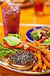Grilled Turkey Burger with Sweet Potato Fried and a Soda Stock Photo - Premium Royalty-Freenull, Code: 659-06373107
