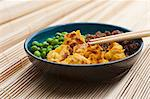 Sanshokudon (rice dish with peas, minced meat and scrambeled egg, Japan) Stock Photo - Premium Royalty-Freenull, Code: 659-06373317