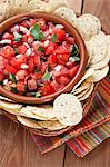 Bowl of Fresh Salsa with Tortilla Chips; From Above Stock Photo - Premium Royalty-Freenull, Code: 659-06373704