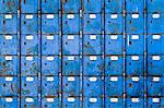 Close up image of rows of blue post boxes in Port Elizabeth, Eastern Cape, South Africa Stock Photo - Premium Royalty-Free, Artist: ableimages, Code: 682-06374134