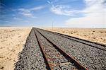Railway track leading through desert, Kolmanskop, Luderitz, Karas Region, Namibia Stock Photo - Premium Royalty-Free, Artist: Lloyd Sutton, Code: 682-06374359