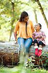 Mother and daughter talking and sitting on log, Johannesburg, South Africa Stock Photo - Premium Royalty-Free, Artist: Cultura RM, Code: 682-06374399