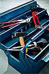Close-up of assortment of tools in a toolbox Stock Photo - Premium Royalty-Free, Artist: Photocuisine, Code: 698-06374674