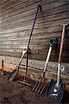 Group of gardening tools against wooden wall Stock Photo - Premium Royalty-Free, Artist: photo division, Code: 698-06375209