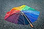Multi colored broken umbrella on street Stock Photo - Premium Royalty-Free, Artist: Science Faction, Code: 698-06375221