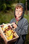Portrait of little boy carrying basket full of freshly harvested Chanterelle mushrooms Stock Photo - Premium Royalty-Free, Artist: David & Micha Sheldon, Code: 698-06375224