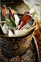 fork - Cuttlery in Vintage Container Stock Photo - Premium Rights-Managednull, Code: 700-06383012