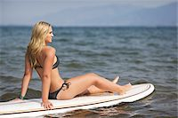 Surfer on Surfboard Stock Photo - Premium Rights-Managednull, Code: 700-06383767