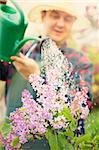 Spring garden concept. Male gardener is doing garden work around lilac flowers. Stock Photo - Royalty-Free, Artist: mythja                        , Code: 400-06384081