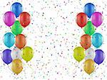 Party background of balloons and confetti