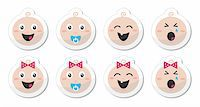 Babies cute icons set as glossy labels Stock Photo - Royalty-Freenull, Code: 400-06384615