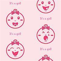 Cute baby girl pattern, wallpaper Stock Photo - Royalty-Freenull, Code: 400-06384617