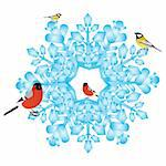 Bullfinch and tits are sitting on an abstract snowflake. Illustration on white background. Stock Photo - Royalty-Free, Artist: guarding                      , Code: 400-06384628