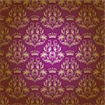 Damask seamless floral pattern. Royal wallpaper. Flowers, crowns on a purple background. EPS 10 Stock Photo - Royalty-Free, Artist: juli_goncharova               , Code: 400-06385168