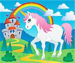 Fairy tale unicorn theme image 2 - vector illustration. Stock Photo - Royalty-Free, Artist: clairev                       , Code: 400-06386935