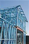 New residential construction home metal framing against a blue sky Stock Photo - Royalty-Free, Artist: LevKr                         , Code: 400-06387589