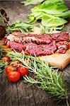Cooking ingredients: marinated meat,oil,vinegar, herbs and vegetables Stock Photo - Royalty-Free, Artist: mythja                        , Code: 400-06388110