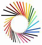 Circle made from lot of color pencils. Good background Stock Photo - Royalty-Free, Artist: kvkirillov                    , Code: 400-06388443