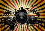 Musical retro grunge background with drummer. Vector illustration. EPS 10 with transparency. Stock Photo - Royalty-Free, Artist: angelp                        , Code: 400-06388452