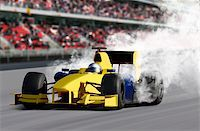 breakdown of formula one race car on speed track Stock Photo - Royalty-Freenull, Code: 400-06388912