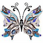 Brown and blue decorative fantasy butterfly isolated on white (vector) Stock Photo - Royalty-Free, Artist: OlgaDrozd                     , Code: 400-06389929