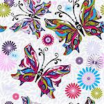 Floral seamless pattern with colorful butterflies and gray drops (vector) Stock Photo - Royalty-Free, Artist: OlgaDrozd                     , Code: 400-06391431