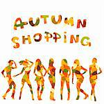 Autumn shopping advertising with falling leaves patterned women silhouettes