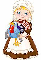 Illustration of cute Pilgrim lady with  turkey Stock Photo - Royalty-Freenull, Code: 400-06393295