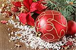 Beautiful Christmas composition with red bauble on the snow. Stock Photo - Royalty-Free, Artist: lidante                       , Code: 400-06393761